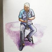 Urban Sketching in Madrid - Straßenmusiker