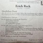 Danksagung Erich Reck - SZ - vom 17.03.2018