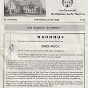Nachruf im Mitteilungsblatt der Gemeinde Steinhausen vom 8. März 2018
