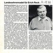Bericht Schwäbische Zeitung - Landesehrennadel Erich Reck
