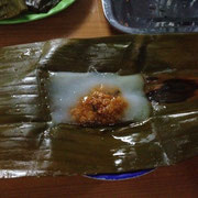 Banh Nam - Banana wrapped steamed rice cake with shripms