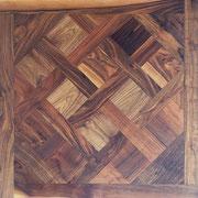 Tafelparkett Versailles 15/4 oder 20/6 x 1.000 x 1.000 mm, Mehrschichtparkett, Natur-Sortierung, Amerik. Walnuss, matt lackiert