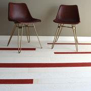 Vintage-Dielen Rockin' White & Red kombiniert