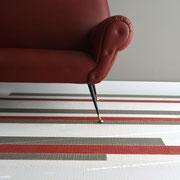 Vintage-Dielen Rockin' Grey, White & Red kombiniert