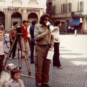 """Gian Butturini durante le riprese del suo film """"Il Mondo degli Ultimi"""" 1980"""
