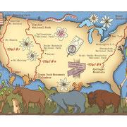 「別冊PEAKS 山岳縦走ギアガイド2013」(枻出版社)「アメリカ3大トレイル大解剖」用イラスト