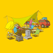 NEW OUTDOOR HANDBOOK「オートキャンプを楽しむ」(地球丸)用カバーイラスト
