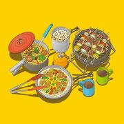 NEW OUTDOOR HANDBOOK「野外料理入門」(地球丸)用カバーイラスト