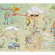「PEAKS」2014年8月号(枻出版社)用イラスト「剱岳ルートマップ」
