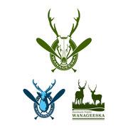 ハンドメイド ウッドパドル工房「WANAGEESKA」ロゴデザイン不採用案(右下の鹿2頭のシルエットはデータ支給)