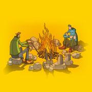 NEW OUTDOOR HANDBOOK「焚き火の達人」(地球丸)用カバーイラスト