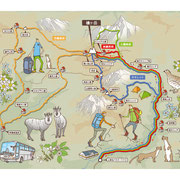 「PEAKS」2014年8月号(枻出版社)用イラスト「槍ヶ岳ルートマップ」