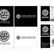 サボテン・多肉植物専門店「鶴仙園」ロゴ、ショップカード、名刺デザイン