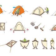 「別冊PEAKS テント泊の山道具」(枻出版社)用イラスト