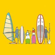 NEW OUTDOOR HANDBOOK「海のボードスポーツABC」(地球丸)用カバーイラスト