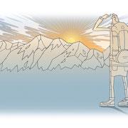 「岳人」2015年11月号〜「実践!山の天気を読む」タイトル周り用イラスト