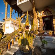 Drachenstatue am Treppeneingang des Wat Buppharam