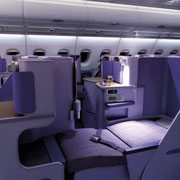 Business (Royal Silk Class) im A380 der Thai Airways