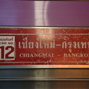 Zugschild: Chiang Mai nach Bangkok