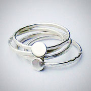 Contemporary Handmade Stacking Sterling Silver Rings - Four