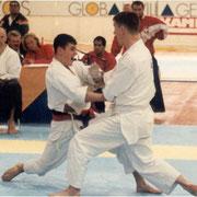 Чемпионат Европы 1997 год, 4-е место  по кумитэ (поединку) среди мужчин, Швейцария, Давос. Поединок с английским спортсменом.