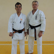 Кацудзи Тамаёсэ Сэнсэй - 8-й Дан Уэчи-рю каратэ-до и Игорь Горбунов - 5-й Дан Уэчи-рю каратэ-до.