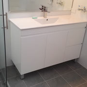 Cheltenham Main Bathroom Renovation After Photo With White Polyurethane Finger Pull Vanity With Legs