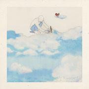 """""""Peindre ses rêves"""" Illustration crayon aquarelle et collage numérique"""