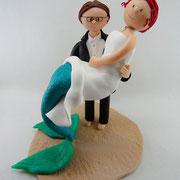 Tortenfigur Brautpaar Meerjungfrau