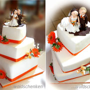 3-stöckige Hochzeitstorte orange Gerbera