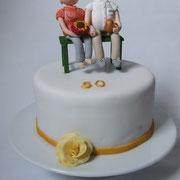"""Torte """"Goldene Hochzeit"""" mit Tortenfiguren"""