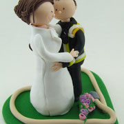 Tortenfigur Brautpaar Feuerwehrmann Mini