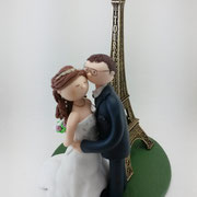 Tortenfigur Brautpaar mit Eifelturm