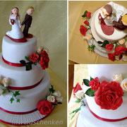 3-stöckige Hochzeitstorte rote Rosen