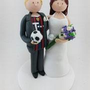 Tortenfigur Brautpaar Fußballer