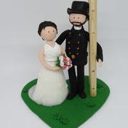 Tortenfigur Brautpaar mit Schornsteinfeger