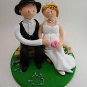 Tortenfigur Brautpaar Zimmermann mit schwangerer Braut