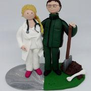 Tortenfigur Brautpaar Friedhofsgärtner und Ärztin