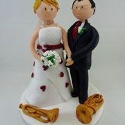 Tortenfigur Brautpaar mit Instrumenten