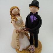 Tortenfigur Brautpaar mit Frettchen