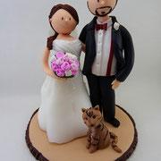 Tortenfigur Brautpaar mit Katze