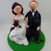 Tortenfigur Brautpaar sitzend