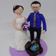 Tortenfigur Brautpaar mit Uniform