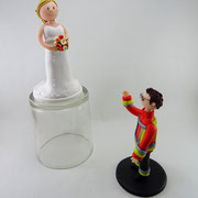 Tortenfigur Brautpaar Feuerwehrmann getrennt stehend 10 cm groß