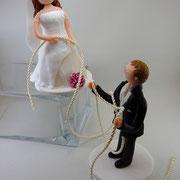 Tortenfigur Brautpaar Kletterer getrennt stehend