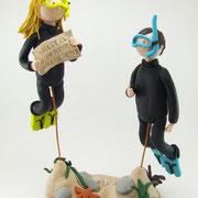 Tortenfiguren Brautpaar Taucher unter Wasser