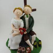 Tortenfigur Brautpaar Tracht Kletterer Gipfelkreuz