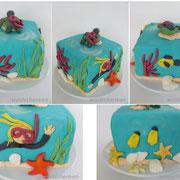 Motivtorte Unterwasserwelt mit Taucherin und Meeresschildkröte