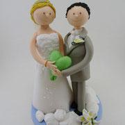 Tortenfigur Brautpaar auf Wolken