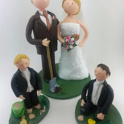 Tortenfigur Brautpaar mit Kindern